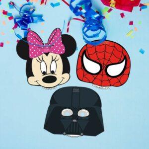 Máscara Personalizable Minnie, Dpiderman y Darth Vader (100 unidades)