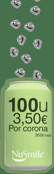 Reposicion Coronas metalicas NuSmile 100 unidades